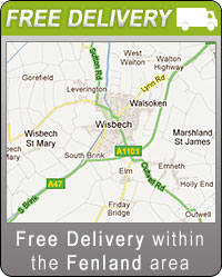 Free delivery within Fenland Area, Wisbech-Leverington-Gorefield